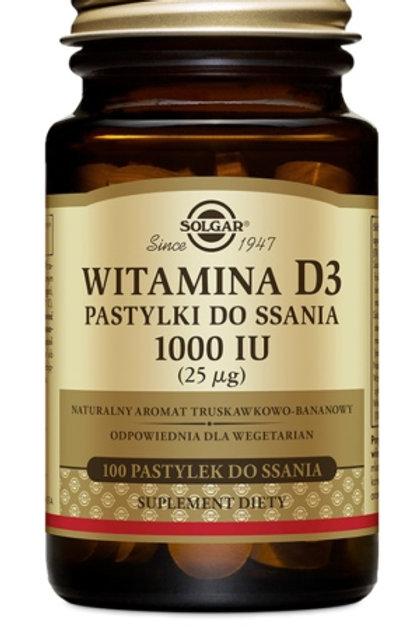 SOLGAR Witamina D3 Pastylki Do Ssania 1000IU 25mcg