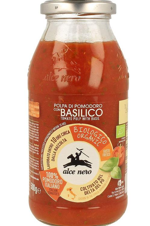 ALCE NERO Pulpa pomidorowa z BAZYLIĄ BIO 500g