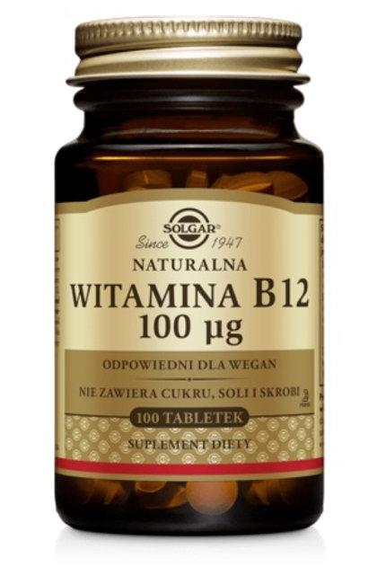 SOLGAR Witamina B12 Naturalna 100mcg 100tabl