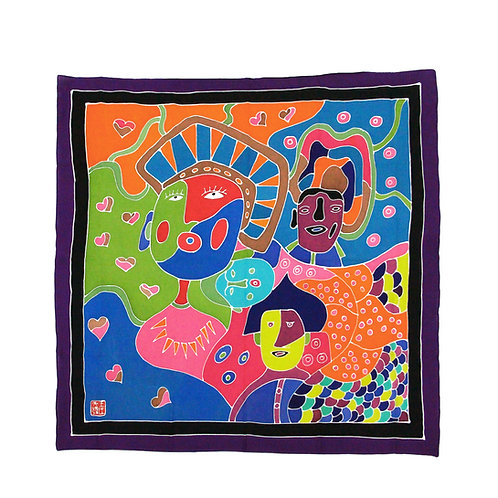 Hand Painted Batik Scarf (Purple)