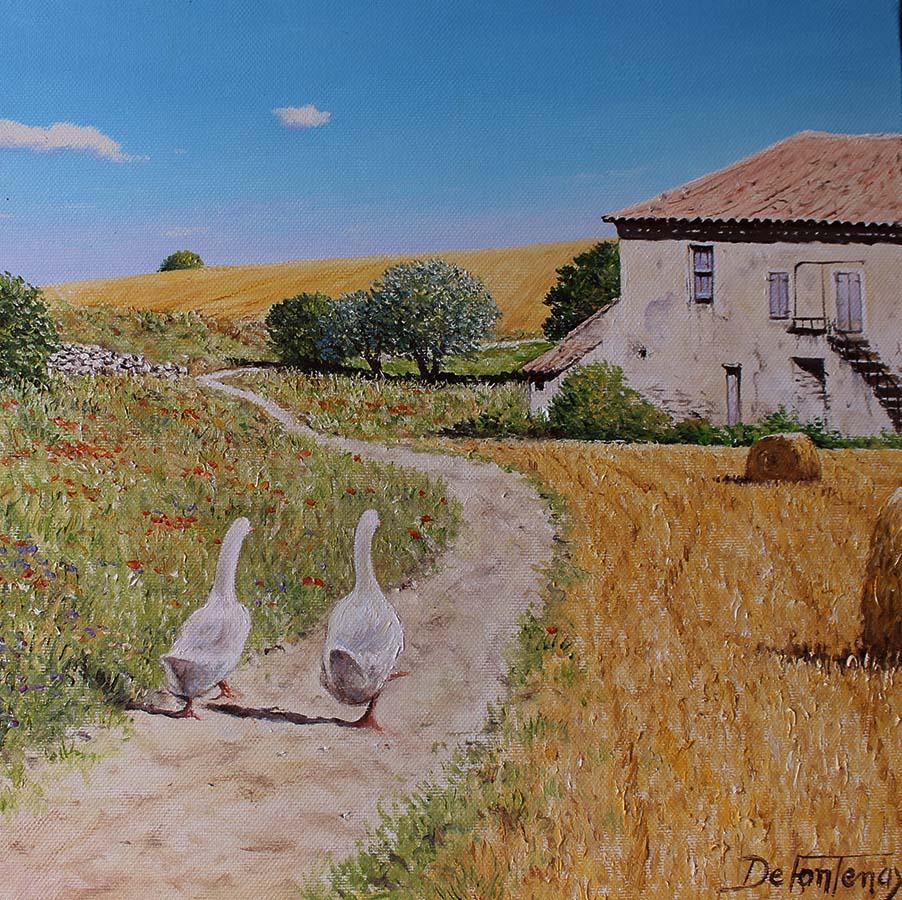 Deux oies sur le chemin