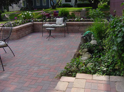brick patio and brussels planter box