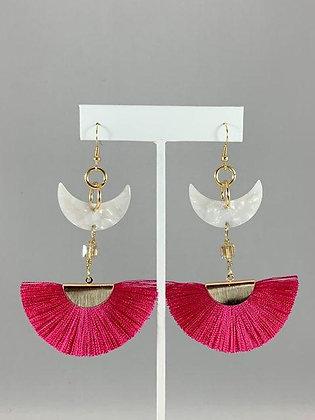 Half moon acrylic fan earrings