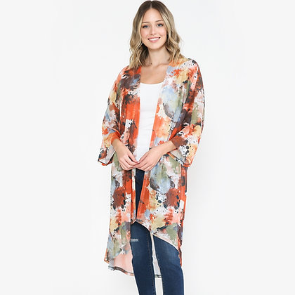 Rust Multicolor Kimono