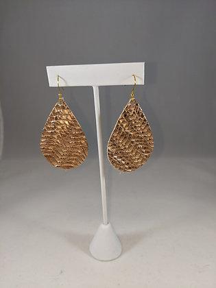Rosegold Texture Teadrop Earrings