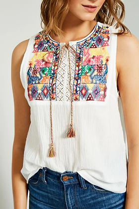 White Embroidered Tank