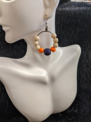 Clemson Wooden Bead Earrings