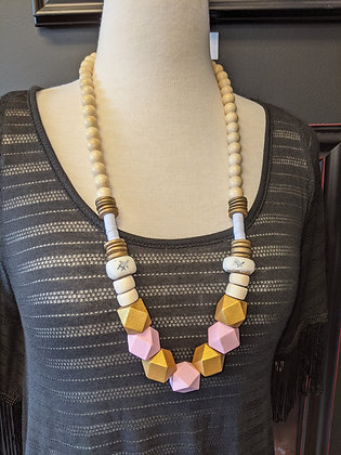 Pink large beaded necklace