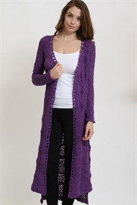 Purple Long Cardigan