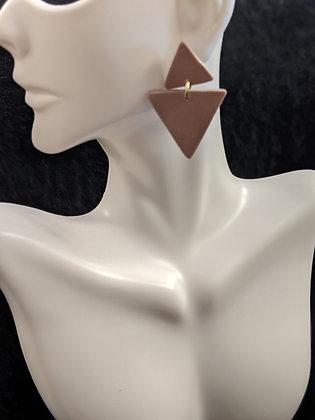 Mauve Small Triangle Earrings