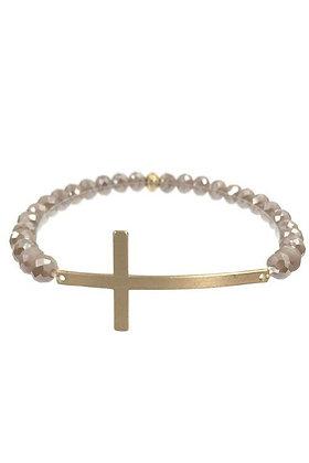 Cross Glass Bead Bracelet