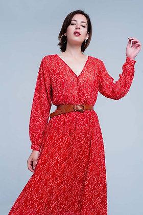 V Neck Red Dress