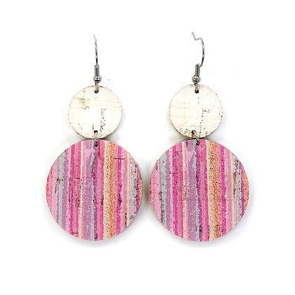 Pink Lavender Stripe Leather Earrings