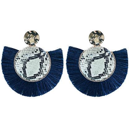 Snakeprint Navy Tassle Earrings