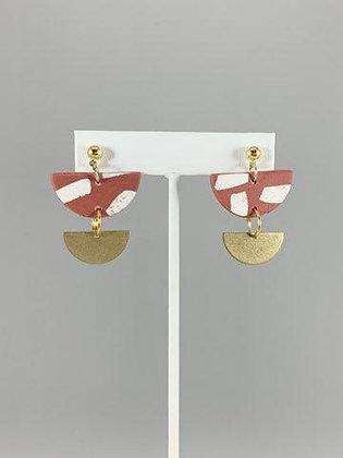 Rust/White/Gold Double Tier Earrings