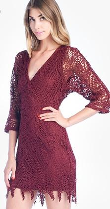 Burgundy Lace Mini Dress