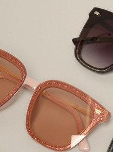 Rosegold Glitter Rectangle Sunglasses