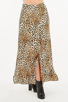 Cheetah Button Skirt