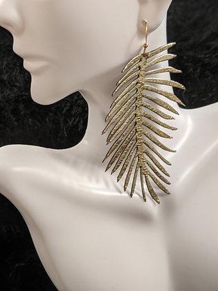 Large Italian Leather Gold Earrings