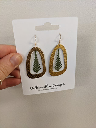 Hand pressed fern earrings