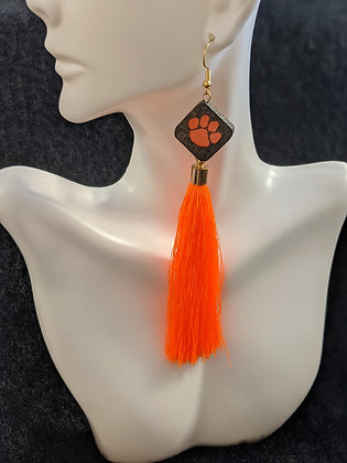 Long Orange Tassel Earrings