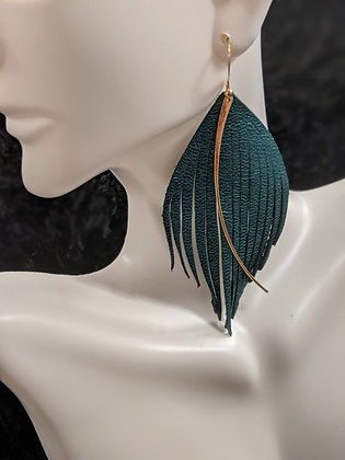 Metallic Teal Gold Drop Italian Leather Earrings