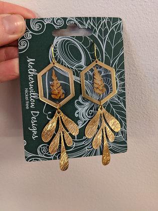 Brown Fern Gold Earrings