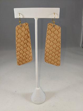 Nude Textured Leather Rectangular Earrings