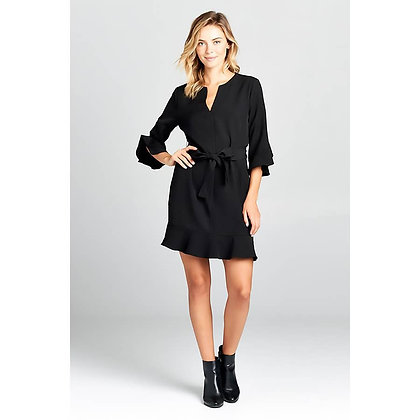 (S) V-neck Bell Sleeve Dress