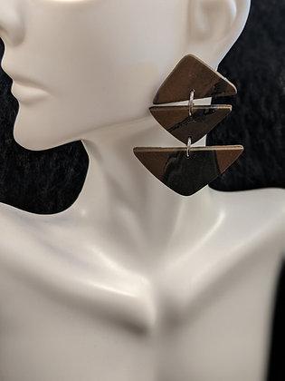 3Tier Black/Brown Earrings