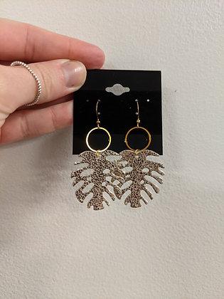 Metallic Gold Palm Italian Leather Earrings