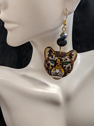 Handpainted Cheetah Head Earrings
