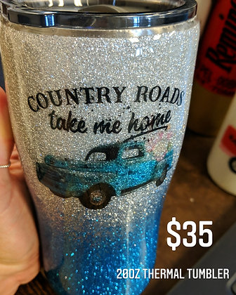 Country roads take me home tumbler
