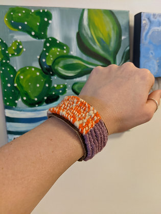 Clemson Handwoven Leather Cuff