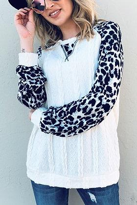Leopard Sleeve Colorblock Top