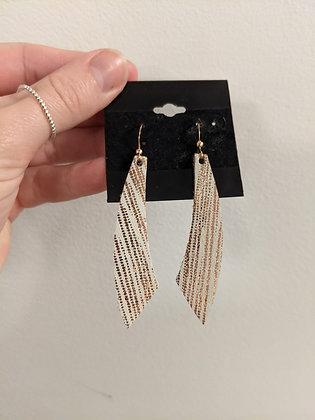 Rose Gold/Cream Italian Leather Earrings