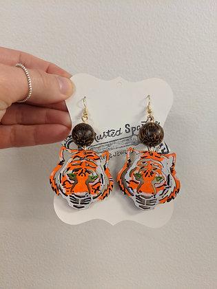 Dark Brown Bead Tiger Earrings