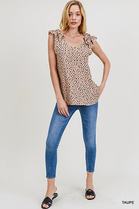 Taupe Dot Blouse