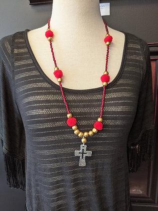 Red PomPom Necklace