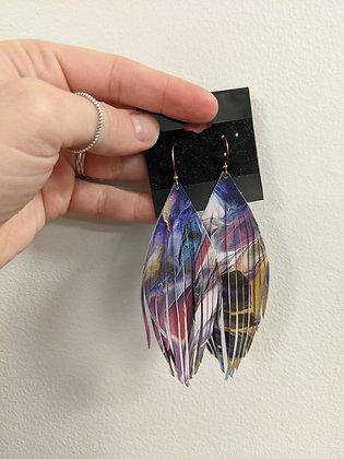 Watercolor Italian Leather Earrings