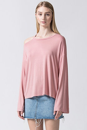 Desert Rose One Shoulder Long Sleeve Top