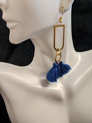 Gold/Blue Tassel Drop Earrings