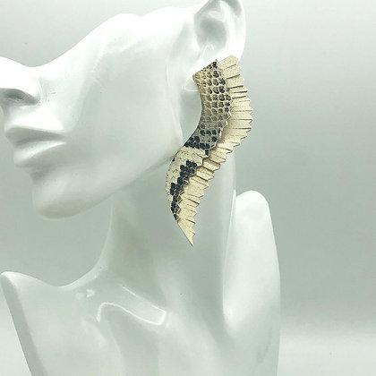 Metallic Snakeskin Wing Italian Leather Earrings