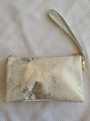 Gold Cream Metallic Wristlet/Crossbody bag