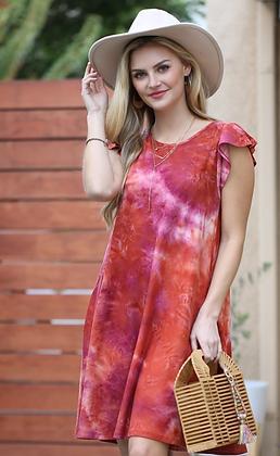 Tiedye Flutter Sleeve Dress