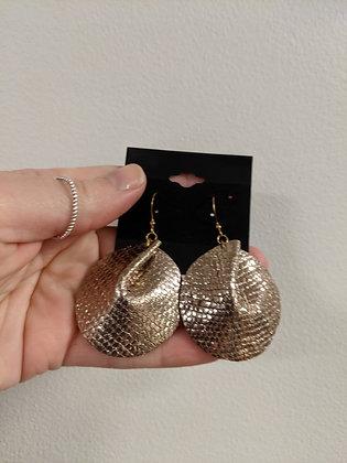 Rose Gold Italian Leather Earrings