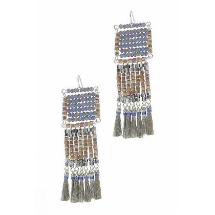 Blue Grey Tassel Earrings
