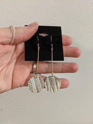 Gold/Cream Circle Drop Italian Leather Earrings