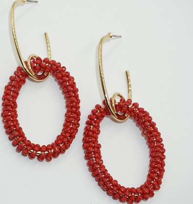 Red Seedbead Gold Hoops