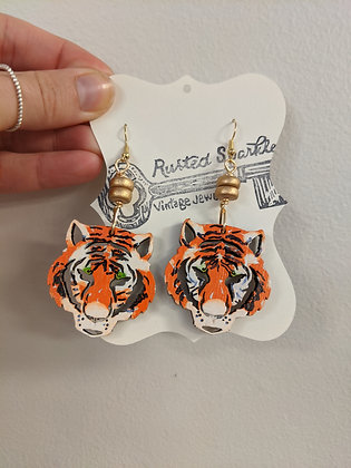 Double Gold bead tiger earrings